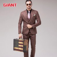 Wholesale-Fashion Hotel braunen Kleid passt Geschäfts Marke Mens Suit Set Grid (Jacke + Hose + Weste) Blazer Men Jacket und Pant GM331