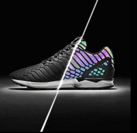 Wholesale Snake Flat Shoes - Retail ZX FLUX XENO The chameleon men's and women's shoes Boost Reflective Black Snake shoes sneakers on sale Sport Shoes Sneakers 36-45