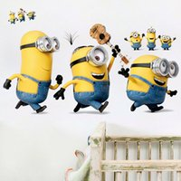 Wholesale Despicable Minion Stuart - Minions Wall Stickers Despicable Me Decorative Wall Decals for Kids Home Decoration WallPaper Stuart Tim Dave Art Movie Poster
