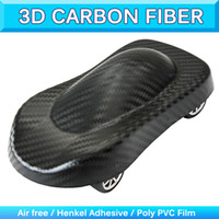 Wholesale Carbon Fiber Air Drain - 3D Big Grid Carbon Fiber Textured Vinyl Wrap Structured Car Body Sticker With Air Drain Air Free Bubble 1.52x30m 5x95Ft 0.18mm