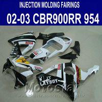 Wholesale honda 954 injection fairing for sale - Group buy Injection molding High quality fairing kit for Honda cbr900rr fairings CBR900 RR white black PLAYBOY bodykit CBR954 YR27