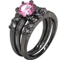 Wholesale Ring Pink Cocktail - Size 5-11 Black Wedding Ring Solitaire Engagement Three-in-One Bride Cocktail Topaz Pink Crystal