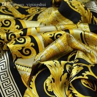 Wholesale Solid Color Square Scarves - Wholesale-The famous style 100% silk scarves of woman and men solid color gold black Neck print soft fashion Shawl women silk scarf square
