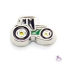 Wholesale Tractor Charms - Wholesale-Hot selling zinc alloy cute enamel Black&Green Tractor floating charms for living photo memory glass lockets FC98