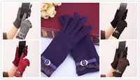 Wholesale Black Ladies Winter Gloves - women touch screen gloves ladies Winter Warm Vintage Lace Touch Screen Gloves cotton knitted gloves winter womens gloves D1955