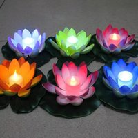 Wholesale Led Floating Candles - Popular Artificial LED Candle Floating Lotus Flower With Colorful Changed Lights For Birthday Wedding Party Decorations