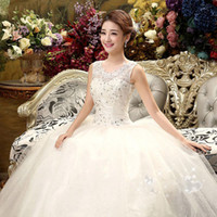 Wholesale Gowns Wedding Apparel - 2015 New Autumn Winter fashion girl princess lace up bridal dress sexy apparel style formal rhinestone flower tube bandage wedding dress