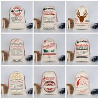 Wholesale Door Gift For Christmas - Christmas Gift Bags Creative Pure Cotton Canvas Santa Claus Drawstring Bag For Many Styles White 11 2by C