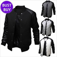 Wholesale Mens Leather Sleeves - New Arrival Black Jacket Men Spring Fashion Mens Single Breasted Pu Leather Patchwork Baseball Jacket Brand Gray Jackets free shipping