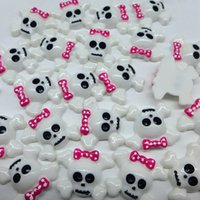 Wholesale Skull Cabochons - Wholesale-Halloween Pink Skull With Bow, Resin Flat back Cabochons for Phone Decoration, DIY, Free Shipping!