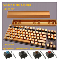 Wholesale Cherry Mx Keys - Wholesale-Brand New Metal Keycap Golden Space Key For Cherry MX Black Blue Brown Red Switches Mechanical Gaming Keyboard