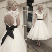 Wholesale Cheap Lace Gowns China - Vintage 2016 Ivory Lace And Tulle A Line Wedding Dresses Cheap Backless Black Bow Sash Tea Length Bridal Gowns Custom Made China EN12915
