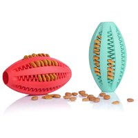 Wholesale Dental Chews - Pets Dog Toy Rubber Rugby Football Toys For Dog Cat Pet Training Have Fun Diet Control Dental Massaging Ball 1pcs Pet Supplies