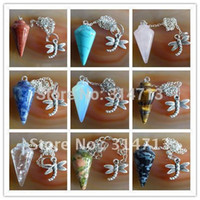 Wholesale Bead Cap Jewelry - Wholesale-(Min.order 10$ mix) Beautiful Wholesale 9pcs lot mixed agate Pendulum semi-precious jewelry pendant bead WE2