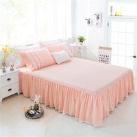 Wholesale Korean Bedspreads - Wholesale-Pink Wave Lace Korean Style Bed Skirt Twin full Queen King1.2M 1.5M 1.8M 2.0M housse de couette romantic bedspreads pillowcase