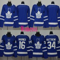 Lady 2017-18 New Season Toronto Maple Leafs Jerseys Blank 16 Mitchell Marner 34 Auston Matthews Camisolas de hóquei barato Blue S-2XL