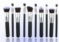 Wholesale Professional Facial Brush Free Shipping - Professional 10 PCS Cosmetic Facial Make up Brush Tools Wool Makeup Brushes Set Kit with retail packaging free shipping