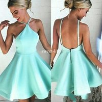 Wholesale sexy mint club dress resale online - 017 Cheap Mint Sexy Short A Line Homecoming Dresses Halter Satin Backless Mini Prom Party Dress Lovely Cocktail Gowns