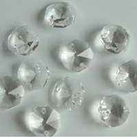 200pcs 14mm 2 fori Clear K9 Crystal Glass Octagon perline di cristallo lampada lampadario parti prisma decorazione