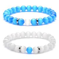 ingrosso bracciali opali bianchi naturali-Nuovo distanziale in acciaio inox naturale opale pietra bracciale 8 mm bianco blu occhio di gatto gioielli polsino per le donne uomini