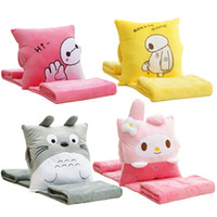 Wholesale air conditioned pillow - Wholesale-Cartoon Totoro white doll quilt pillow and cushion, three in one air conditioning blanket afternoon sleep gift,Christmas Gifts