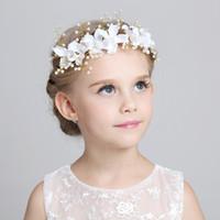 voiles blanches des filles achat en gros de-Charme mignons enfants enfants voiles pièces de tête pour correspondre robes de fille de fleur 2015 blanc rose princesse guirlande fille fille bandeau pour le mariage