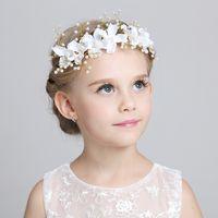 Wholesale Matches Charm - Charming Cute Kids Children Veils Head Pieces to Match Flower Girl Dresses 2015 White Pink Princess Garland Flower Girl Headband For Wedding