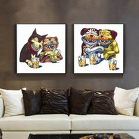 cartoon-ölgemälde leinwand großhandel-Moderne Kunst Ölgemälde Leinwand Drucke Lustige Hund Bilder Surrealismus Wandkunst Malerei für wohnzimmer wohnkultur Ungerahmt