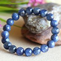 Wholesale Natural Blue Kyanite - Discount Wholesale Natural Blue Kyanite Crystal Men's Stretch Finish Bracelet Round Beads 9.5mm 03828