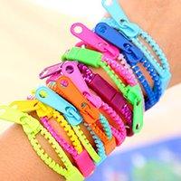 Wholesale New Zip Bracelet Wristband - New trendy zipper bracelet two tone double color hip hop plastic zip wristband candy bracelet Popular Zipper bracelet mix color