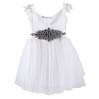 Wholesale kids white tutus for sale - Pettigirl Best Sellers Elegance Girls Autumn Dresses White Kids Dresses With Diaomend Belt Retail Baby Clothes GD81107
