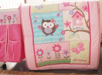 Wholesale Pink Crib Dust Ruffle - Pink Animal 4 Pieces Set Crib Baby Bedding Blanket Set Embroidery Baby Nursery Crib Bumper Quilt Fitted Sheet Dust Ruffle