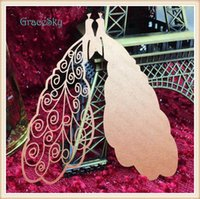 Wholesale Marriage Card Decoration - 60X Free Shipping laser cutting Elegant Peacocks Design Paper Wedding Party Decorations Laser Cutting Wine Glasses Place Seat Name Cards
