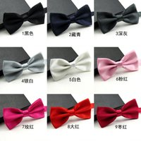 Wholesale Cheap Wedding Ties - Hot Sale Cheap Groom Bridegroom Bow Tie Fashion Wedding Accessories Solid Many Colors Can Choose Noble Men's Party Business Formal Wear Ties