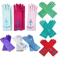 Wholesale Long Costume Gloves - costume princess kids gloves for girls party gloves long Satin cosplay dress up accessories children long blue gloves
