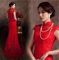 malzeme çince toptan satış-Dantel Malzeme Kırmızı Renk Lüks Çin Geleneksel Elbise Qipao Mermaid Gelin Elbise 2020 Vestido De Noiva