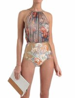 Wholesale Trendy One Piece Swimsuits - 2016 trendy ethnic print one piece swimsuit nude floral printed one piece swimwear high neck halter swimsuit floral bathing suit 1730