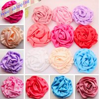 Wholesale Girls Rosette Hair - 20pcs Wholesale Satin Rolled Rosettes flower headband DIY craft baby hair headband baby girl accessories children's hair accessories