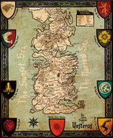 """Wholesale Cartoon Painting Games - Free shipping 24""""x32""""inch Game of Thrones maps Poster HD Decor Custom ART SILK PRINTING No Frame"""