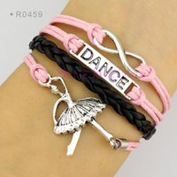 Wholesale Ballerina Charms - Infinity Love Dance Ballerina Ballet Dancer Charm Wrap Bracelets Leather Wax Bracelets Unisex kid child girls Women Fashion Gift Custom