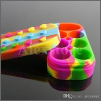 Wholesale can storage - Nonstick Wax Containers 6+1 silicone big wax can Silicon container Colorful Non-stick wax jars dab storage jar oil vape dabber holder