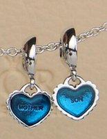 pandora parçaları toptan satış-Otantik 925 Ayar Gümüş Adet Benim Kalp Anne Oğul Dangle Boncuk Mavi Emaye Avrupa Pandora Stil Takı Bilezikler Uyar