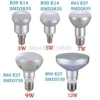 Wholesale Ampoules Led E14 - R39 R50 R63 R80 R90 2835 5730SMD Led Bulbs Lights E14 3W 5W 7W E27 9W 12W Bombilla Ampoule Lamp For Home Warm Cool White