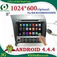 Android 4,4 tela capacitiva 1024 * 600 (opcional) 2 din Car DVD Player rádio gps carro Estéreo do carro para KIA K3 CERATO FORTE 3G wifi