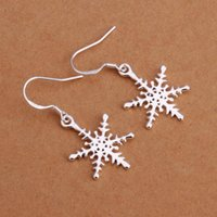 Atacado-Atacado de Moda 925 prata esterlina floco de neve Cristalizar Brincos Gancho Dangle Ear Earrings Jóias Antiallergic E302
