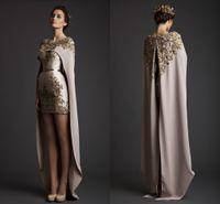 Wholesale cape dresses - 2017 Vintage Krikor Jabotian Evening Dresses Sheath Long Separate Cape Embroidery Satin Short Champagne Prom Dresses