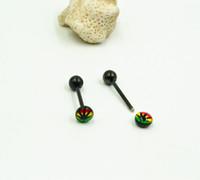 Wholesale Tongue Bar Titanium - 100pcs Titanium Strip Murraya Logo Tongue Rings Bars Free shippment Body Jewelry Piercing
