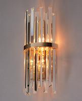 espelho k9 venda por atacado-Modern LED K9 Cristal Arandela para corredor sala de estar de Luxo Villa Hotel Quarto Lâmpada de Cabeceira espelho de casa LEVOU Luminárias de parede luzes