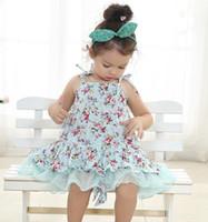 ingrosso vestito floreale blu delle neonate-bambina bambina vintage fiore tutu abito floreale tutù pettiskirt gonna in tulle pizzo abito tubino abito balletto vestito principessa rosa