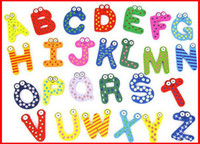 Wholesale z magnets resale online - SODIAL Funky Fun Colorful Magnetic Letters A Z Wooden Fridge Magnets Kid toys Education Refrigerator Magnets Gift